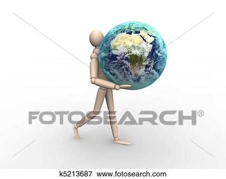 stock illustration of man carrying earth k5213687 search eps