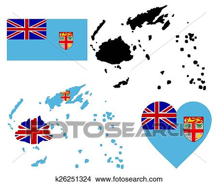 Map of Fiji Clipart