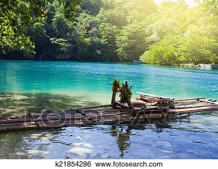 Raft On The Bank Of The Blue Lagoon Jamaica Stock