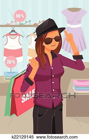 6c7fc0109e91 Shopping donna, dentro, il, deposito vestiti Clipart | k22129145 ...