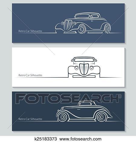 セット の 型 車 シルエット クリップアート切り張りイラスト