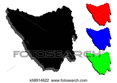 3d map of tasmania clipart k58914622 fotosearch fotosearch