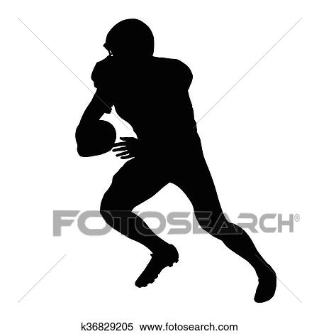 Clipart Of American Football Player Vector Isolated Silhouette