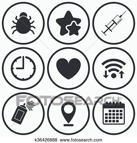 Clip Art Of Bug And Vaccine Signs Heart Spray Can Icons K36426888