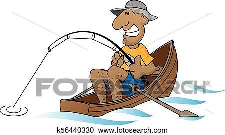 Cartoon Man Fishing In Boat Vector Illustration Clipart K56440330 Fotosearch