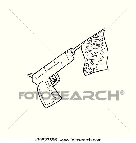 Clip Art Of Gun With Flag Toy Icon Outline Style K39527596
