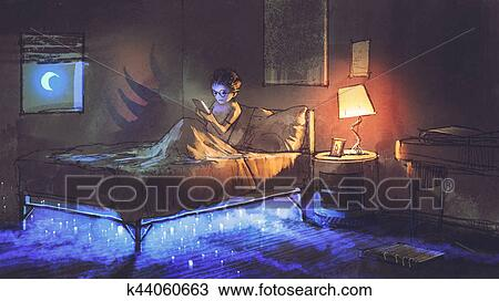 Tekening jongen lees tablet in slaapkamer en iets onder