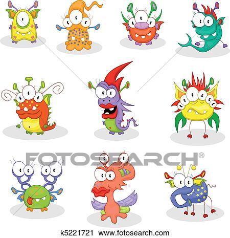 Clipart - karikatur, monster, kobolde, geister k5221721 - Suche Clip ...