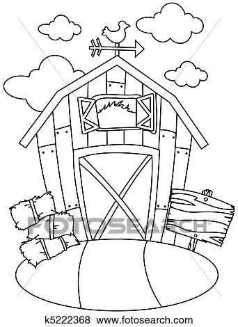 Stock Illustration Of Line Art Barn House K5222368