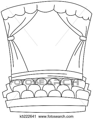 Clipart Of Line Art Theater K5222641
