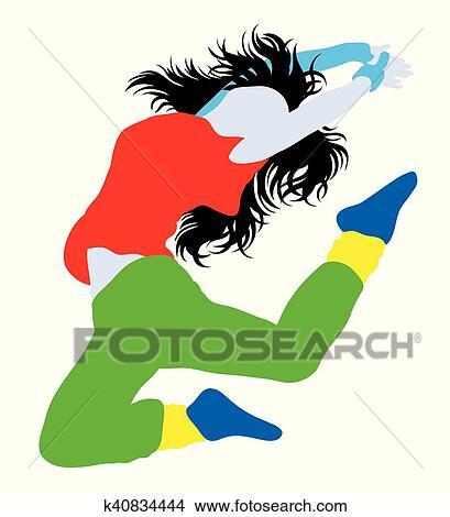 Clipart Of Modern Dancing Girl Hip Hop Break K40834444 Search