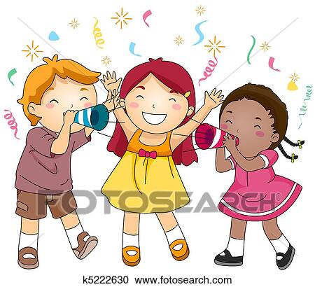 illustration of kids blowing paper trumpets in celebration of the new year