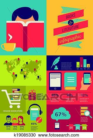 reading-books-infographics-set-of-flat-c