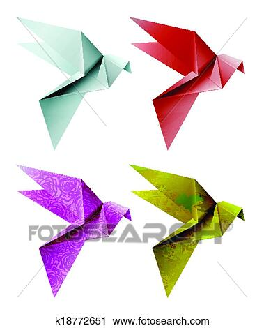 Set Of Colorful Origami Bird Vector Illustration EPS 10