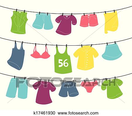Clipart Of Various Clothes On Washing Line K17461930