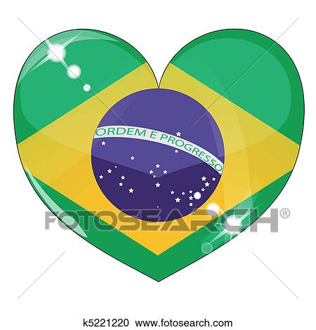 clipart of vector heart with brazil flag texture k5221220 search rh fotosearch com brazil flag circle vector brazil flag vector free download