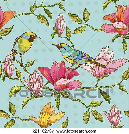 clipart vindima seamless fundo flores e pssaros para desenho e scrapbook em vetorial