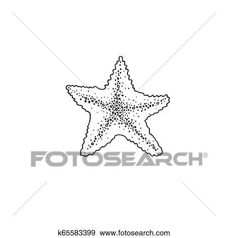 نجم البحر رسم التخطيط ايقونة الصيف Themed Clip Art K65583399 Fotosearch