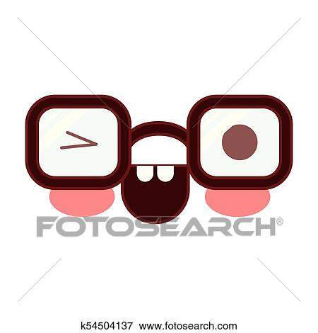 clip art of caricature glasses with eye wink expression in colorful rh fotosearch com Moving Winking Eyes Clip Art Winking Eye Drawing