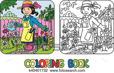 Coloring book of funny woman gardener. Clipart