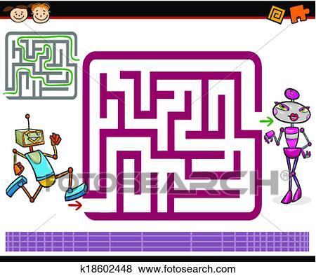 Dessin anim labyrinthe ou labyrinthe jeu clipart k18602448 fotosearch - Dessin labyrinthe ...