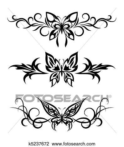Dessin Papillon Tatouage clipart - ensemble, tribal, à, papillons, tatouage k5237672