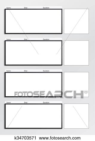 Clipart Of Film Storyboard Template Vertical 4 K34703571 Search