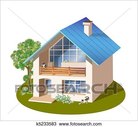Clipart modello di tre dimensioni famiglia casa for Modello di casa