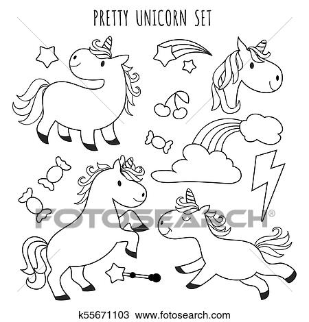 - Kids Coloring Page. Unicorn Set For Coloring Book Clipart K55671103  Fotosearch