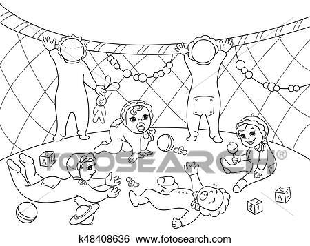 Kindergarten Ausmalbilder Für Kindern Karikatur Vektor