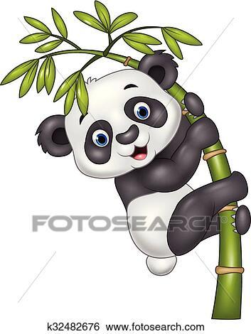 Mignon Rigolote Bébé Panda Pendre Clipart