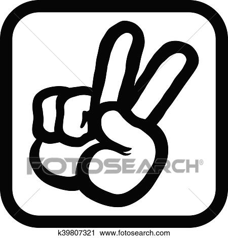 Clipart Of Peace Sign Hand K39807321 Search Clip Art Illustration