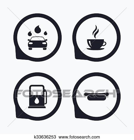 Clipart Of Petrol Or Gas Station Services Icons Car Wash K33636253