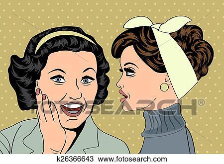 clipart of pop art retro women in comics style that gossip k26366643