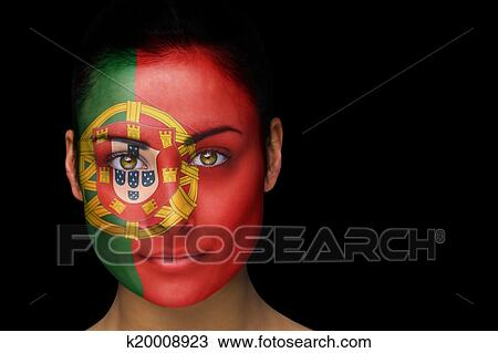 Portugal Football Fan In Face Paint Stock Image K20008923