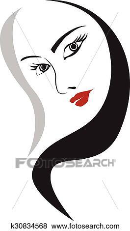 Rosto Mulher Elemento Desenho Para Desenho Clipart K30834568