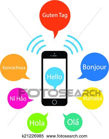 clipart of saying hello from a mobile k21226985 search clip art rh fotosearch com halo clip art hula clip art
