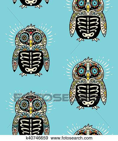 Clip Art Of Sugar Skull Penguins Pattern Mexican Day The Dead