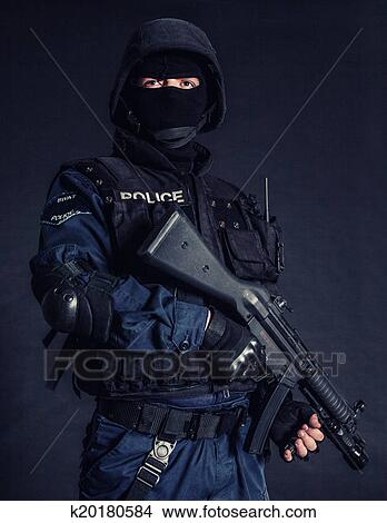 Stock Photo of SWAT officer k20180584 - Search Stock Images, Mural ...