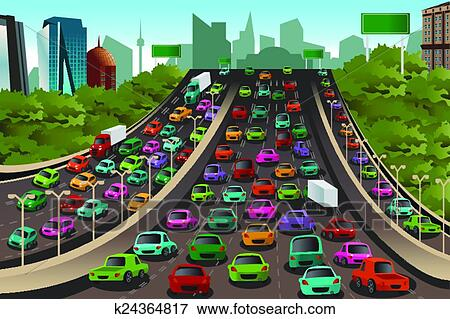 clip art of traffic on a highway k24364817 search clipart rh fotosearch com traffic clipart gif traffic clipart free