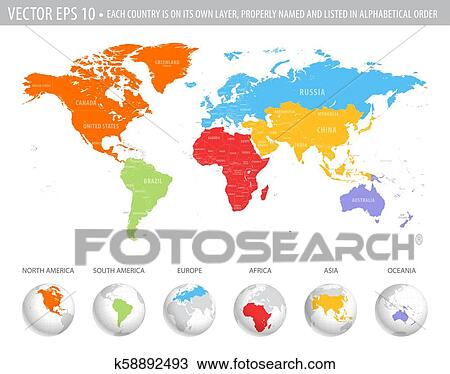 Vector Colorful World Map Clipart
