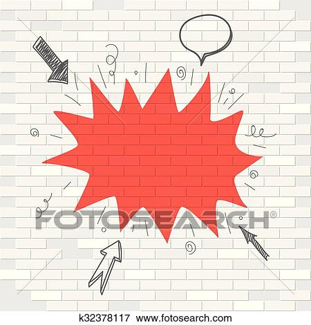Clip Art of White brick wall and red blot label. Template for a text ...