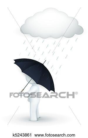 Clipart - 3d, carácter, ambulante, con, paraguas, en, día lluvioso ...