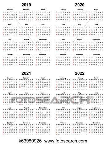Annual plain calendar sunday first day 2022 2021 2020 2019 Clip