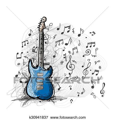 Arte Esboco De Guitarra Desenho Clipart K30941837 Fotosearch