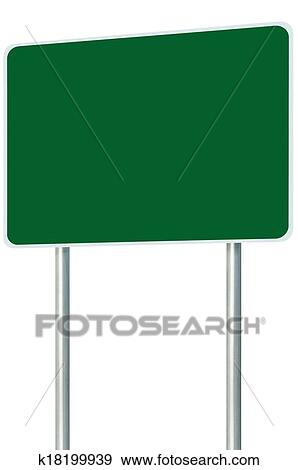 stock photograph of blank green signboard road sign isolated large