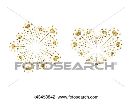 Clipart Corazon Fuegos Artificiales Oro Conjunto Vector