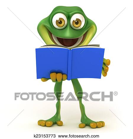 Frog Read A Book Drawing K23153773 Fotosearch