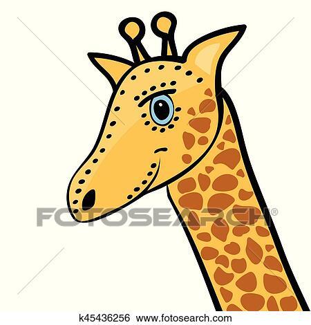 Dessin Girafe Rigolote clipart - girafe, mignon, rigolote, dessin animé, tête k45436256