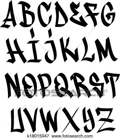 Graffiti font alphabet Clip Art